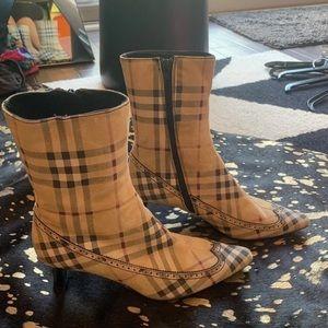 Burberry Plaid Heeled Booties